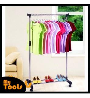 Ready Stock- Single Adjustable Stainless Steel Garment Rack Drying Cloth Hanger