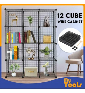 Mytools Heavy Duty 12 Cube Cabinet Cubes Black Wired Wire Mesh DIY Wardrobe
