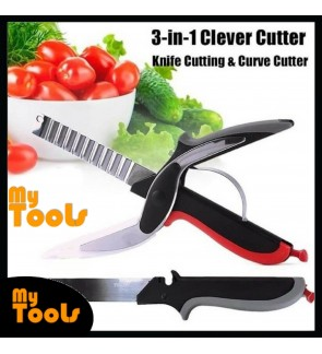 Clever Smart Cutter 3-in-1 Knife & Cutting Curve Cutter Board Scissors