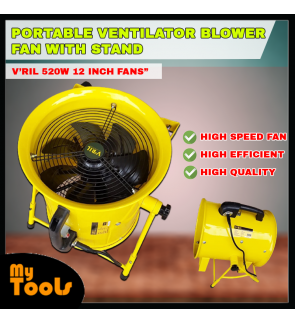 """V'RIL 520W 12"""" Portable Ventilator & Blower Fan With Stand / Skydance Cotton Petrol station / open house / 0m Flexible Hose"""
