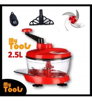 2.5Ltr Manual Kitchen Chopper Meat Vegetable Fruit Grinder Blender Cutter