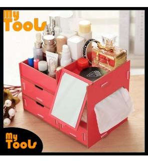 Mytools  Large Solid Wooden Cosmetic Organizer With Mirror