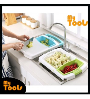 3 in 1 Kitchen Sink Cutting Chopping Board Removable Drain Washing Basket