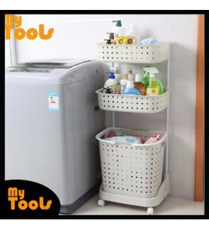 Mytools Japanese Style 3 Tiers Large Laundry Basket Organizer With Wheels(White)