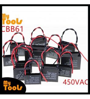 CBB61 Motor Fan Capacitor Condenser 450VAC 50/60Hz 1uf 1.5uf 2uf 3uf 3.5uf 4uf 4.5uf 5uf 6uf 7uf 8uf 10,12,14,16,20uf