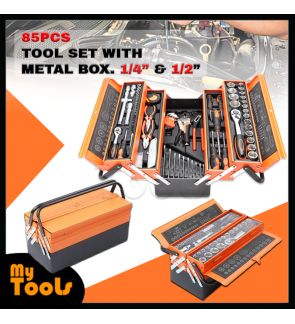 "Mytools KraftMax KF-85 85 pcs 1/4"" & 1/2"" Tool Set with Cantilever Metal Box Set-5 Tier (USA)"