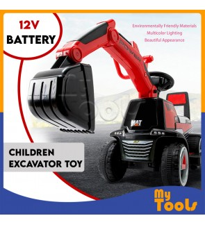 12V Battery Kids Ride On Excavator Digger Pretend Play Construction Truck Toy