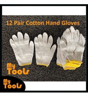 Mytools 12Pair 104 Cotton Hand Gloves / Sarung Tangan Kain