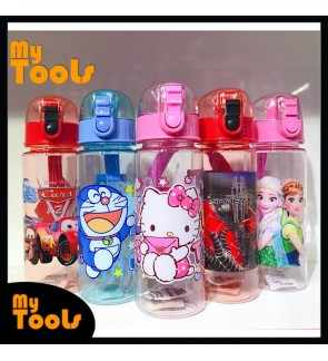 Mytools 600ML Kids Plastic Water Bottle Tumbler with Straw Children Drinking BPA Free Portable Cute Cup