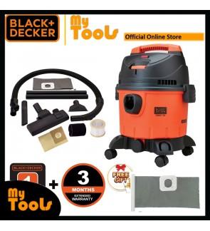 Black + Decker BDWD15 1400W 15 Litre Multifunction Vacuum Cleaner With Standard Accessories + 1pcs Washable Dust Bag