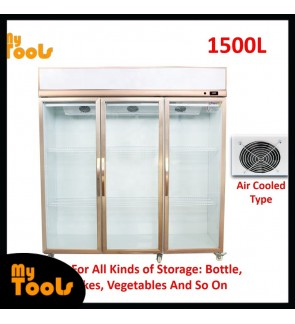 Mytools Himitzu 1500L 3 Glass Door Commercial Display Showcase Fridge Chiller Refrigerator Air Cooled (Blower Type)