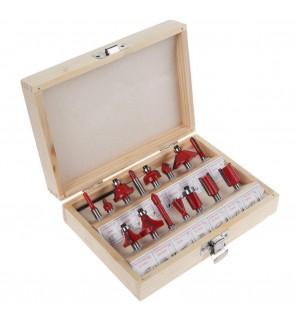 15pcs Router Bit Set Kit Shank Tungsten Carbide Rotary Tool Wood Case Box