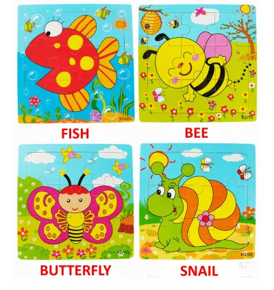 Mytools 9pcs Wooden Jigsaw Puzzles Animal Educational Early Learning Toys Toy Present Gift Kids Children Birthday Party