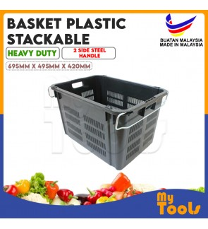 Mytools 9901 Industrial Storage Container Basket Plastic Stackable Crate Heavy Duty with 2 Side Steel Handle (Malaysia)