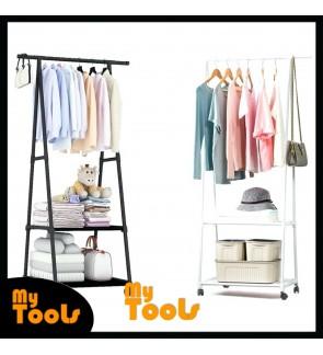 Mytools 3 Tier Wardrobe Clothes Drying Rack Shoe Cloth Organizer Garment Hanging Steel Storage Shelf Rack Cabinet