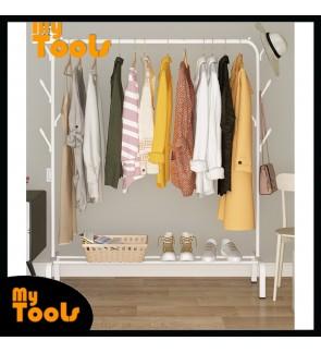 Mytools 110mm Anti Rust Garment Rack Clothes with Hat Hooks Hanger Bottom Shelves Cloth Organizer Drying Rack (White)