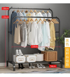 Mytools 110mm Anti Rust Garment Rack Clothes Metal with Hook Hanger Bottom Shelves Cloth Organizer Drying Rack