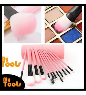 Mytools 12 pcs Barrel Makeup Brushes Cosmetic Make Up Barreled Full set of Dust-proof Bucket Brush Toiletry Kit