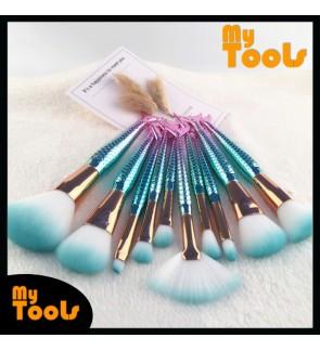 Mytools 10 PCS Mermaid Makeup Brushes Set Eyebrow Eyeliner Blush Blending Contour Foundation Cosmetic Beauty Make Up