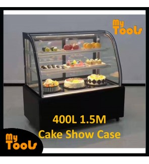 Mytools 400L 1500mm x 660mm x 1200mm Curved Glass Cake Showcase Chiller Cake Display Refrigerator