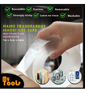 Mytools 1m x 3cm x 2mm Nano Transparent Magic Gel Tape Multi Function Seamless Double Side Washable Reusable