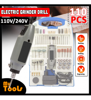 Mytools 110pcs 180W Mini Electric Grinder Drill Variable Speed Rotary Tool Kit US Plug 110-240V