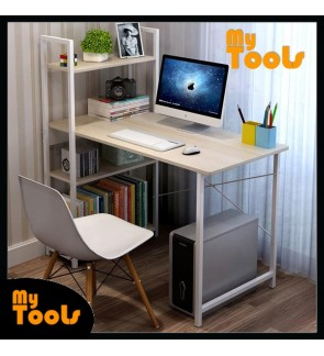Mytools Study Deck Writing Desk Office Computer Table With Book Shelf 3 Tiers