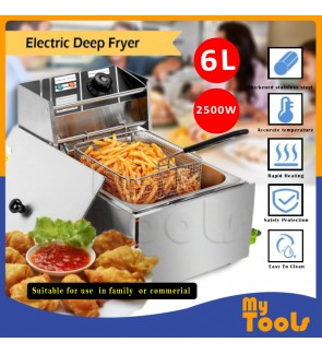 Himitzu 6L Commercial Stainless Steel Single Tank Electric Deep Fryer - 1 basket