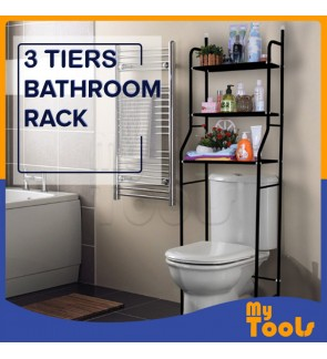 Mytools 3 Tiers Bathroom Rack and Toilet Organizer Shelves Rack White Black Stainless Steel