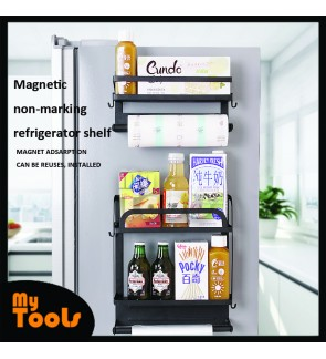 Mytools Refrigerator Mounts Wall Hanging Frame Kitchen Shelf Hangs from Punch Flavor Spice Rack Multilayer