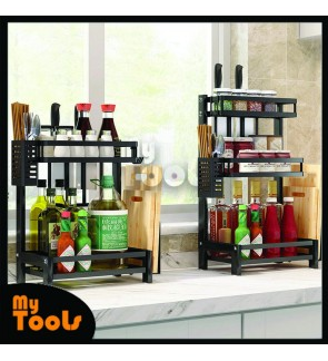 Mytools Stainless Steel Seasoning Rack Kitchen Countertop Shelf Durable 2/3 Tier Spice Rack Organizer accessories