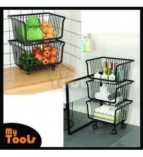 Mytools Kitchen Movable Shelf Floor 2/3 Tier Multi-Layer Fruit and Vegetable Shelf Supplies Vegetable Basket Storage Basket Storage Household