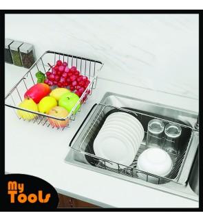 Mytools SS Expandable Dish Holder Mug Cup Drying Rack Fruits Vegetables Organizer Holder Rak Pinggan Mangkuk Alat Dapur