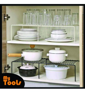Mytools  Expandable Kitchen Cabinet Organizer Storage Rack (27-53cm) Kitchen Storage Rack Kitchen Shelf Stainless Steel for Organizing Kitchen Spice Condiments Plates Pots and Pans Cookwares Fridge Under Sink Microwave Oven Rack Rak Dapur