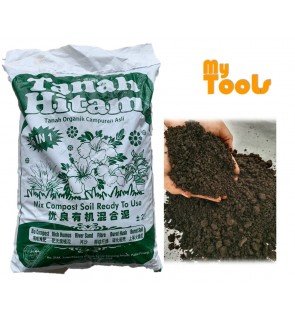 Mytools 28L ( 11-12KG) Tanah Hitam Organik Mix Organic/ Black Soil 6 in 1 Campuran Mix Compose Ready to Use with fertilizers.