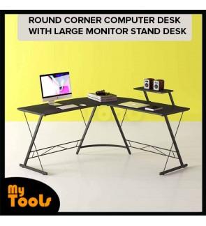 Mytools L Shaped Desk Home Office Desk With Round Corner Computer Desk With Large Monitor Stand Desk Workstation,Black