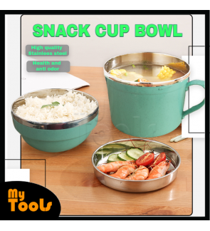 Mytools Cup and bowl of instant noodles thickened stainless steel fast food cup, anti-scalding thermal insulation lunch box, student lunch box, single box meal cup, tightening type instant noodle cup and bowl double layer