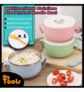 Mytools Stainless Steel Noodle Bowl with Handle Cute Food Container Rice Bowl Soup Bowls Instant Noodle Bowl with Lid Spoon