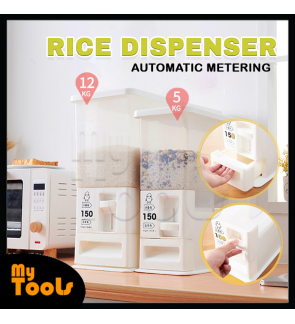 (READY STOCK) Mytools Rice Cylinder Automatic Metering Storage Box Sealed Grain Container Kitchen Storage Capacity 5Kg/12Kg