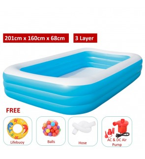 3 Layers 2.01 Meter Large Inflatable Swimming Pools 3 Layers