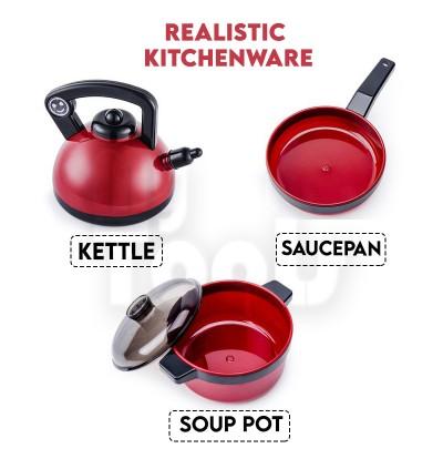 Kid Kitchen Cooking Set Toy Pretend Play Family Food Pots Pan Vegetable Mainan Masak-Masak