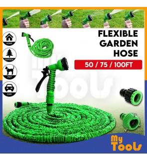 Deluxe Expandable Flexible Garden Water Hose 50 / 75 / 100 Feet Green
