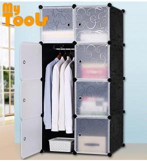 Mytools Wardrobe Cabinet Almari Rak 8 Cubes Black Stripes DIY  Clothes Organiser {Free 1 Hanger} - 2 Size Available