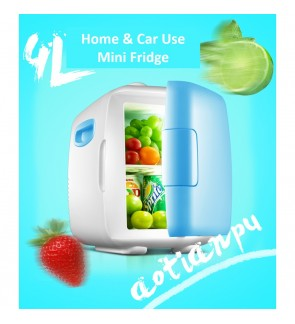 4L Mini Car Fridge Freezer Cooler Warm 12V Portable Icebox Travel Refrigerator (Blue)