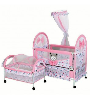 Double Baby Bed Portable Folding Swinging shaker with Mosquito Nets